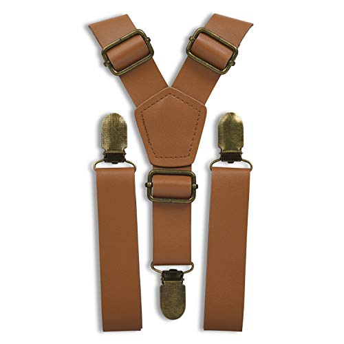 """London Jae Apparel Faux Leather Brown Suspenders (Caramel, Brass Clip) 1"""" strap width, Fits big & tall up to 6'8, rustic, adjustable"""