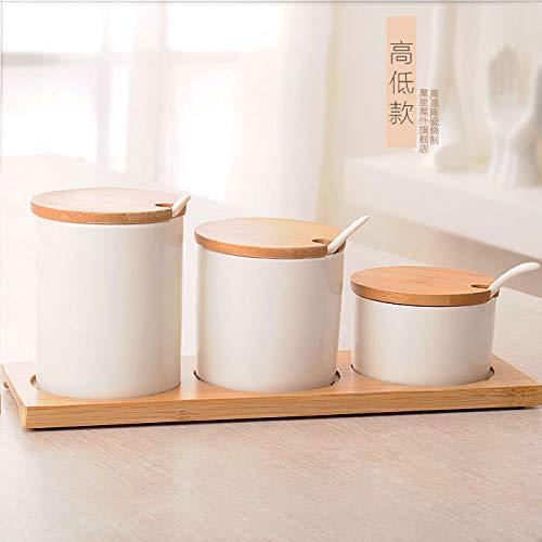 SGAN Set di vasetti di spezie in Ceramica Set di condimenti Set di scatole da Cucina Set di Tre Pezzi da Cucina Set da Tre Pezzi Shaker di Sale Ciotola di Zucchero,A2