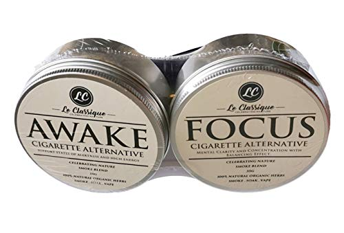 2 X Organic Herbal Smoke Mix 100% Nicotine Free, Herbal Smoked Blend 70g Le Classique (Awake & Focus)