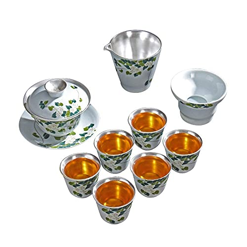Ceramic Tea Set Silver Tea Set Afternoon Tea Coffee Set Chinese Upscale Tea Set Gift for Tea Lovers Household and Office (Material: Silver and Ceramic) (Color : Blue)