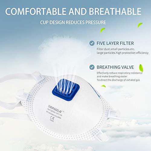 5 PCS ORPHILA Maske FFP3 mit Luftventil Komfort Dichtung Hälfte filtern Maske EN149:2001+A1:2009 Atemschutzmaske - 8