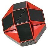 Coolzon Puzzle de Serpiente Mágica Snake Plegable Rompecabezas Tocer Cubo de 24 Secciones,Negro(Rojo)
