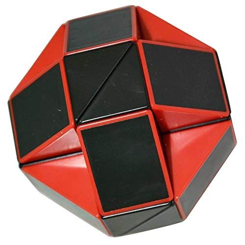 Coolzon® Puzzle de Serpiente Mágica Snake Plegable Rompecabezas Tocer Cubo de 24 Secciones,Negro(Rojo)