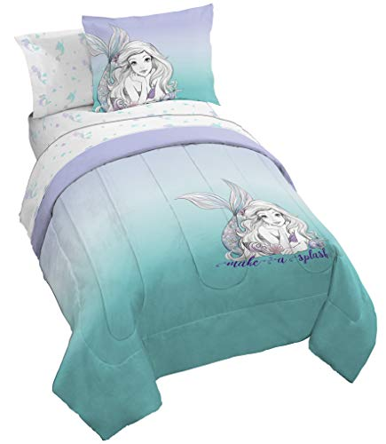 Jay Franco Disney The Little Mermaid Make A Splash 7 Piece Full Bed Set - Includes Comforter & Sheet Set - Bedding Features Ariel - Super Soft Fade Resistant Microfiber - (Official Dinsey Product)…
