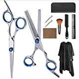 Hair Cutting Scissors Kit 10 PCS 6 inch Barber Thinning Scissors Hairdressing Shears Stainless Steel Hair Cutting Shears Set with Cape Clips Comb for Barber Salon and Home (Style A 10PCS)