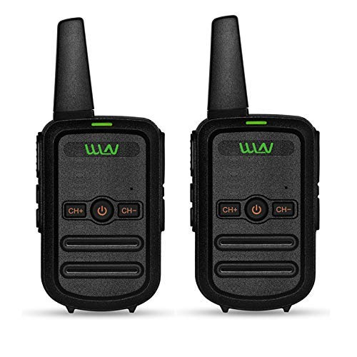 WLN KD-C52 FRS Walkie Talkie USB Chargeable Mini Handheld Two Way Radio for Kids Adults (1 Pair) (Black)