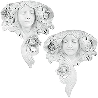 Design Toscano Le Printemps and Le Etoile French Greenmen Wall Sculptures Planter Pockets, 15 Inch, Set of Two, Polyresin, Antique Stone
