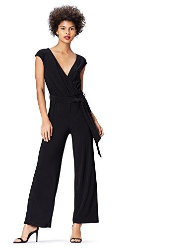 find. Jumpsuit Damen mit Wickeldesign und weitem Bein, Schwarz (Black), 36 (Herstellergröße: Small)
