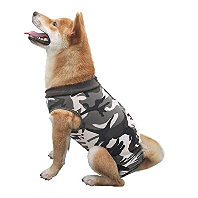 Isyunen Dog Surgical Recovery Suit Abdominal Wound Protector Medical Surgical Shirt, After Surgery Wear, E-Collar Alternative for Dogs, Home Indoor Pets Clothing M