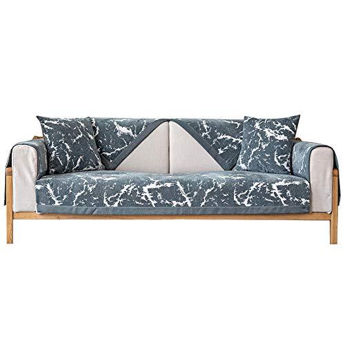 YUTJK Cojín de sofá con patrón de mármol, Funda De Sofa Antideslizante Durable, Lavable Toalla De Sofá, Fundas De Sofa Sala Estar Apto para Niños Mascota Gato, para sofá de Tela, Gris