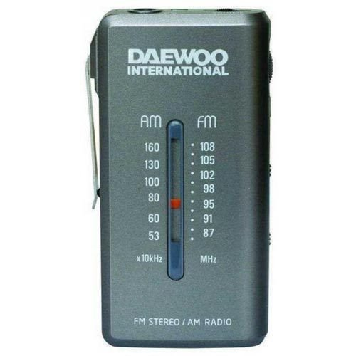 Daewoo DRP-9 Portátil Analógica Gris - Radio (Portátil, Analógica, Am,FM, 3,5 mm, Gris, AAA)