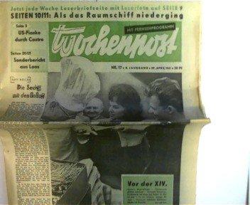 kleine Zeitungssammlung (DDR-Zeitungen) zum Thema 14. Friedensfahrt: Wochenpost vom 29. April 1961 - Nr.17 - 8. Jahrgang und Einzelblätter von Nr.18, Nr.19 und Nr.21 - 1961,