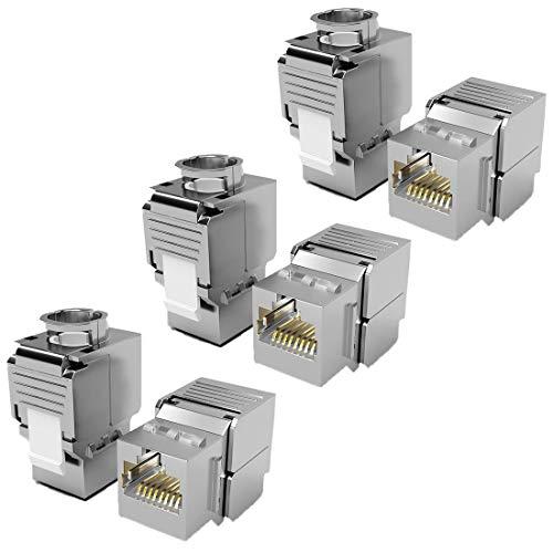 6X Keystone Modul CAT 6a Jack STP RJ45 Buchse geschirmt/Werkzeuglos Dank Snap-In Montage 500Mhz 10 Gigabit Ethernet // Metall Gehäuse Einbaubuchse für Verlegekabel Patchpanel Patchfeld