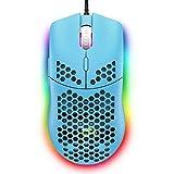ZIYOULANG Mouse da gioco cablato, 69G a nido d'ape Shell leggero con 6400 DPI, mouse da gioco USB programmabili a 6 pulsanti, per PC gamers e utenti Xbox e PS4 - Blu