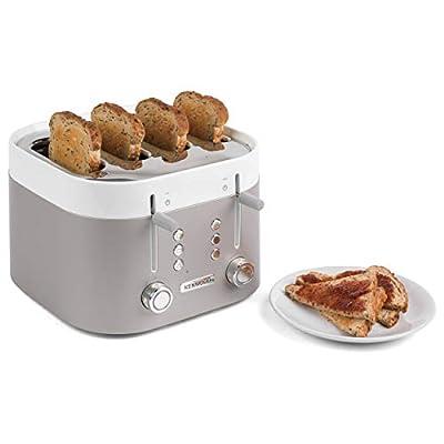 Kenwood TFM400TT K-Sense Four-Slice Toaster, 2000 W, Stainless Steel, Silver/White