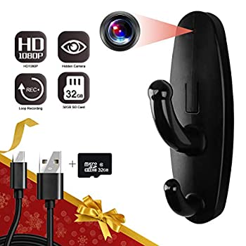 32GB Hidden Camera Clothes Hook Yumfond Mini Hidden Camera HD 1080P No WiFi Needed Nanny Cam Security Camera with 32GB SD Card Recording for Monitoring Home/Baby/Pet