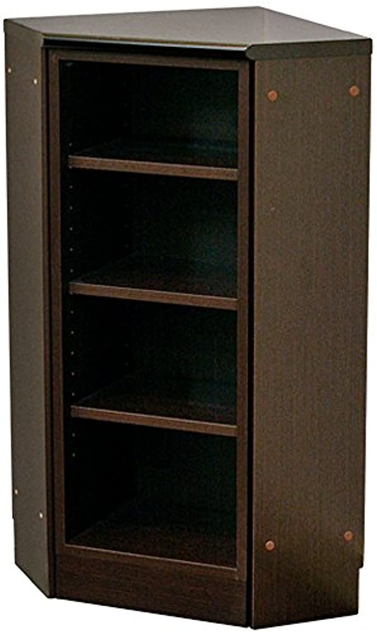 バーター叫ぶ学士起立木工 薄型収納 日本製 39.8×39.8×82cm Nスリムコーナーユニット F型 ダークブラウン 28022