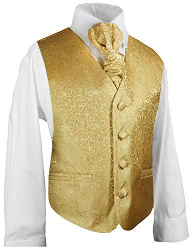 Festliche Kinder Anzug Weste für Jungs 3tlg Gold barock + Hemd + Plastron I Hochzeit Kommunion 152/158 (14 Jahre)