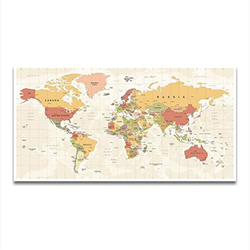 XYDBB Malen nach Zahlen Weltkarte Dekoratives Bild Canvasnordic Wandkunst Druck Großes Arbeitszimmer Büroraum Dekoration 20x40cm Kein Rahmen 6