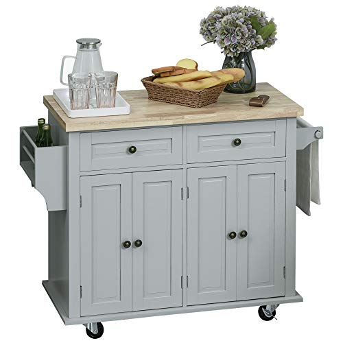 HOMCOM Rolling Kitchen Island Cart with Rubber Wood Top, Spice Rack, Towel Rack & Drawers for Dining Room, Grey