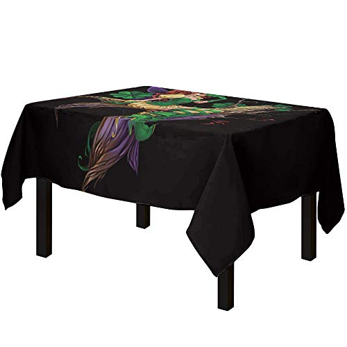 YEHO Art Gallery St.Patrick's Day Fairy Black Pattern Cotton Linen Tablecloth Pretect Table,Lightweight Table Covers Dust- Proof Table Cloth for Home Dinning Party,60x120 Inch
