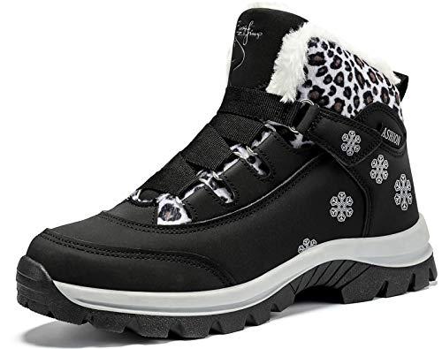Mujer Botas de Nieve Senderismo Impermeables Deportes Trekking Zapatos Fur Forro Aire