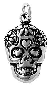 Raposa Elegance Sterling Silver Sugar Skull Charm  approximately 14.5 mm x 11.5 mm