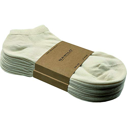 GAWILO 8 Paar Natur Baumwoll Sneaker Socken – Damen & Herren – 100% reine, naturbelassene Baumwolle – ohne Naht – kochfest – glatt gestrickt. (47-50, Natur)