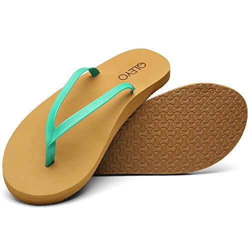 QLEYO Arch Support Flip Flops for Women, Soft Mat Foam Sandal, Handcrafted Thong Shoes for Travelling/Beach/Pool/Party QLTX03-1-W22-8
