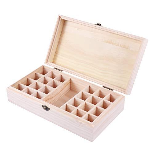 Healifty 24 + 1 bouteille d'huile essentielle Coque en bois Portable d'huile essentielle de transport Boîte de voyage support organiseur