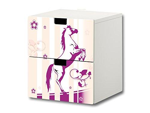 Pferdewelt Möbelsticker/Aufkleber - S2K22 - passend für die Kinderzimmer Kommode mit 2 Fächern/Schubladen STUVA von IKEA - Bestehend aus 2 passgenauen Möbelfolien (Möbel Nicht inklusive)