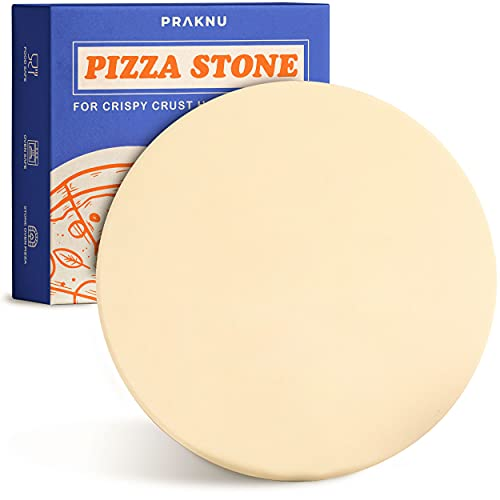 Praknu Pizzastein für Backofen und Grill - Rund 30 cm Ø - Für knusprigen Boden - Steinplatte aus Cordierit