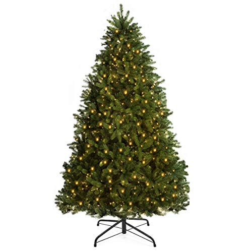 YOUKE Multi-Function Christmas Tree with Warm White LED Lights, Green,UL-Certified Transformer and Solid Metal Stand (1096Tips,1.8M)