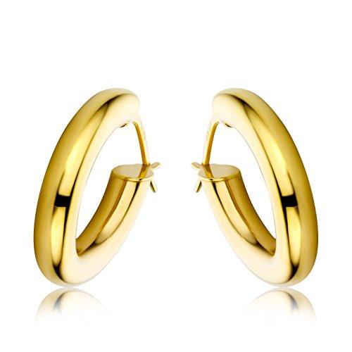 Miore Schmuck Damen glänzende Creolen Ohrringe aus Gelbgold 9 Karat / 375 Gold