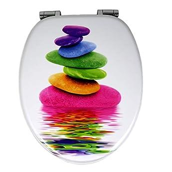 Foto di OGOMONDO Sedile Wc Copri Water Universale Frizionato Colorato Fantasia MDF Chiusura Rallentata