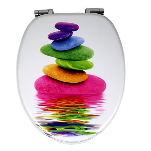 OGOMONDO Sedile Wc Copri Water Universale Frizionato Colorato Fantasia MDF Chiusura...