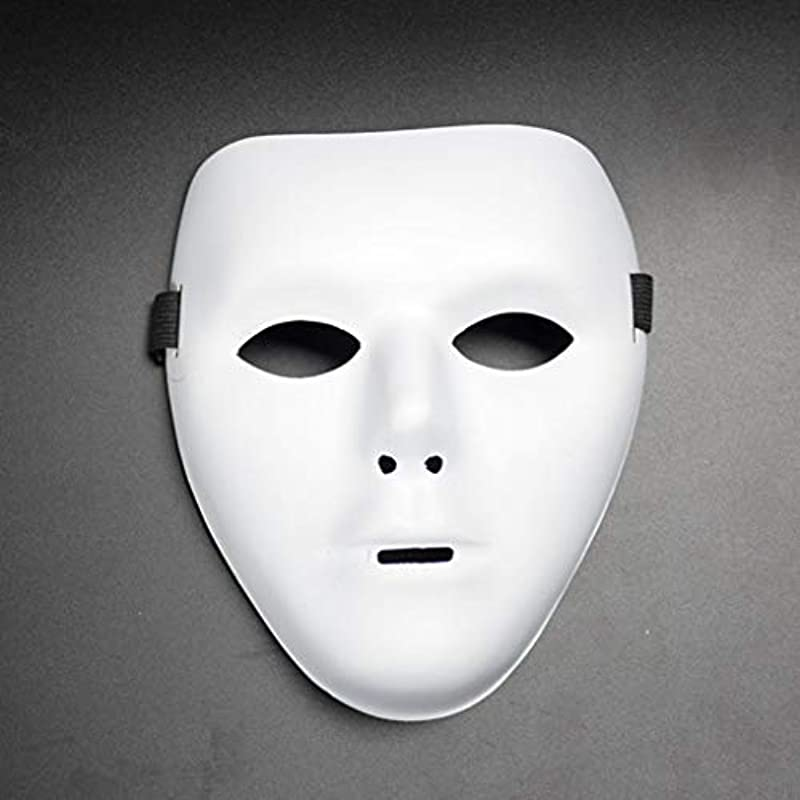 Panzisun Horror White Mask Halloween Cosplay Scary Mask Costume For Adults Party Decoration Props Creepy