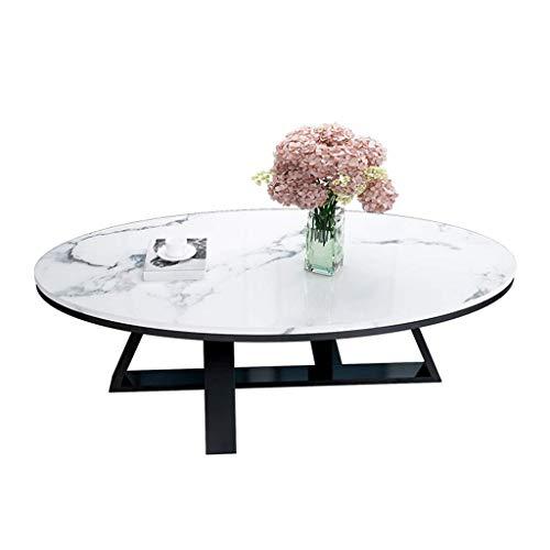 Couchtisch Beistelltische Kaffeetische Wohnzimmer-Tische Couchtisch Beistelltischee Moderner ovaler Couchtisch Beistelltische, Cocktail-Laptop-Schreibtisch, Kunstmarmorplatte Metall Eisen Basis, f