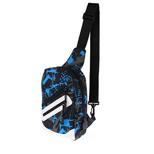 MagiDeal Sac à Bandoulière Sport Unisexe Interface USB Externe Sacoche Camping Voyage École - Camo Bleu, 27x23x8cm