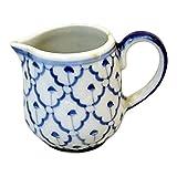 ミルクをたっぶり注ぎましょう 高さ8-直径8cm ミルクピッチャー青白陶器-ブルー&ホワイト 藍染付手描き 【国内Free】