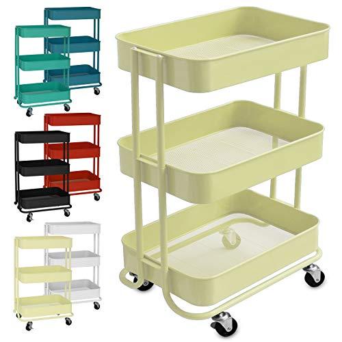 casa pura Design Allzweckwagen mit 3 Etagen - Rollwagen bis 24 kg belastbar - Servierwagen mit 2 Bremsen - Beistellwagen für Küche, Bad, Büro - Korbwagen auf Rollen in 6 Farben (Beige)