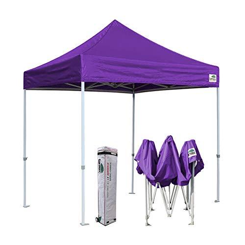 Eurmax 8x8 Feet Ez Pop up Canopy, Outdoor Canopies Instant Party Tent, Sport Canopy Bonus Roller Bag (Purple)