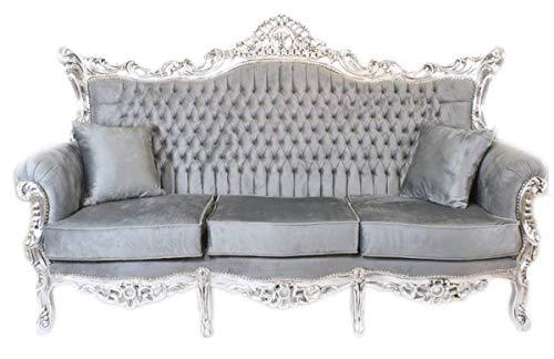 Barock 3er Sofa Master Grau/Silber Mod1 - Wohnzimmer Möbel Couch Lounge