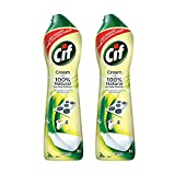 Cif Lemon Abrasive Surface Cleaner Cream for Kitchen & Bathroom, Removes Grease, Dirt & Tough Stains with Natural Cleaning Particles, 2x500ml