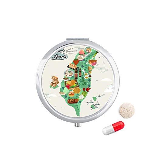 DIYthinker Taiwan Foods Kaart China Honing Koffie Reizen Pocket Pill Case Medicine Drug Opbergdoos Dispenser Spiegel Gift