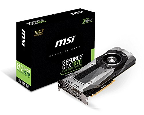 MSI GeForce GTX 1070 Founders Edition V801-1290R Grafikkarte (8 GB, GDDR5 , 8000 MHz, 256 bit, VR Ready) silber