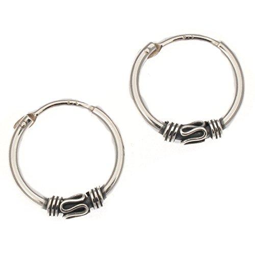 Touch Jewellery - Orecchini a cerchio in stile indiano / Bali, in argento Sterling, 17 mm