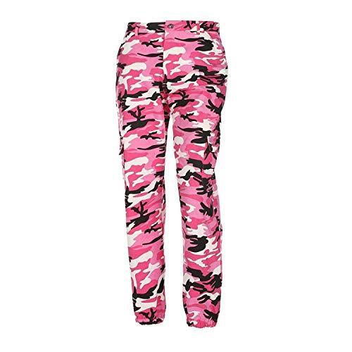 ORANDESIGNE Pantalones de Mujer Camo Cargo Pantalones de Camuflaje Casual al Aire Libre Jeans Rosa EU Large
