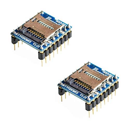 iHaospace 2 Pcs WTV020 Mini SD Card Sound Module Audio MP3 Module Compatible for Arduino, AVR, ARM, PIC - MP3
