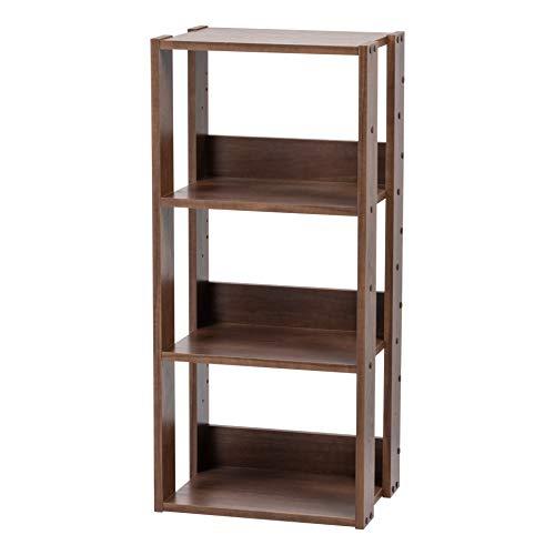 Marca Amazon - Iris Ohyama OWR-400 Estante abierto de madera con 3 compartimentos y 3 estantes de madera, marrón (roble marrón), 40 cm
